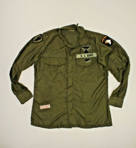 U.S VIETNAM WAR ERA OD GREEN ARMY AVIATION CREW SHIRT DATED 1971 SIZE MEDIUM