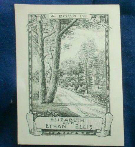 (Ex Libris) A Book of ELIZABETH & ETHAN ELLIS 1933 by J. W. JAMESON Sculpt.
