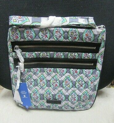 VERA BRADLEY ICONIC TRIPLE ZIP HIPSTER-CHARGER POCKET - PAISLEY STRIPES - NWT