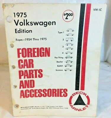 1975 Volkswagon Edition Foreign Car Parts and Accessories Beck Arnley