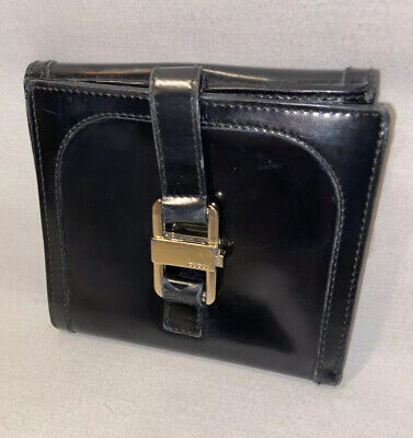 Gucci Vintage Authentic H Locking Buckle Black Patent Leather Wallet Coin Purse