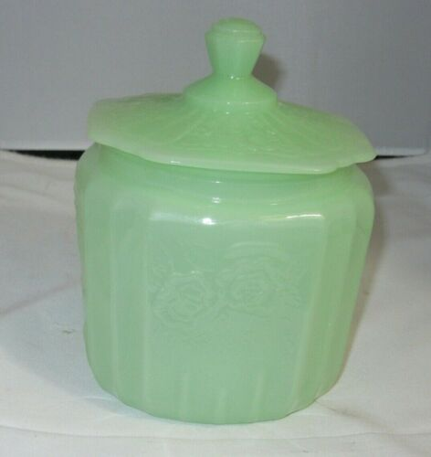 JADEITE GREEN Glass BISCUIT JAR reproduction Anchor Hocking Mayfair Open Rose