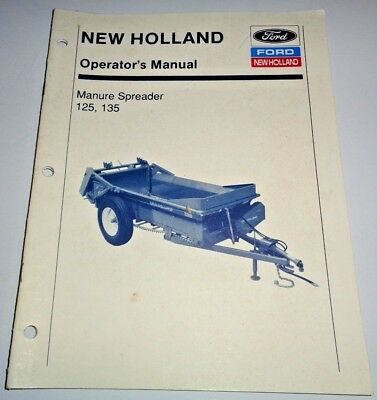 New Holland 125 135 Manure Spreader Operators Owners Manual Nh 291