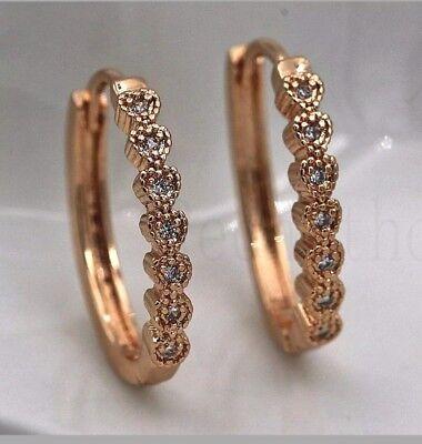 Elegant gold filled multi heart design multi cubic zirconia small hoop earrings -