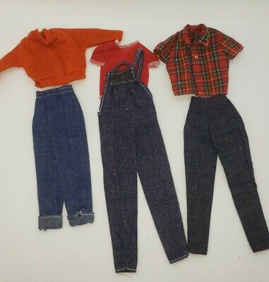 Vintage Barbie 80s Red Plaid Tops Shirts Jeans Overalls Lot
