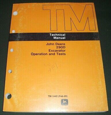 John Deere 290d Excavator Technical Service Shop Op Test Manual Book Tm1442