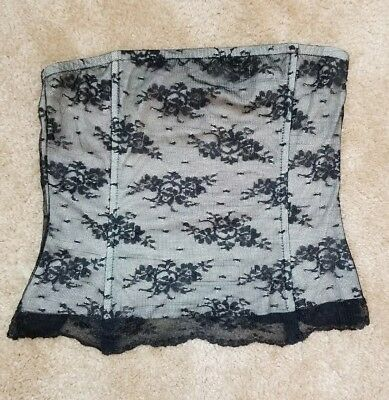 THE LIMITED Women Black Lace Strapless Bustier Size S