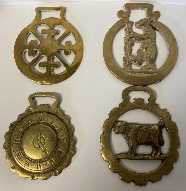 Lot of 4 Vintage Brass Horse Bridle Medallions