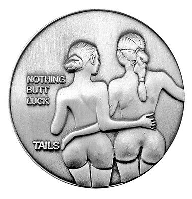 Nude Silver-Finish Nymphs Lucky Head Tail Challenge Coin US SELLER FAST SHIPPING