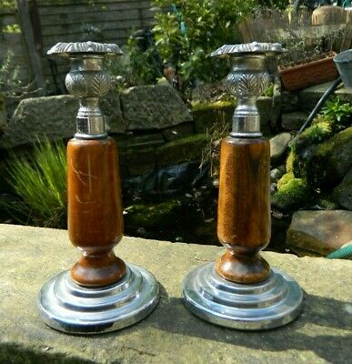 Pair of Art Deco Oak and Chrome Candlesticks
