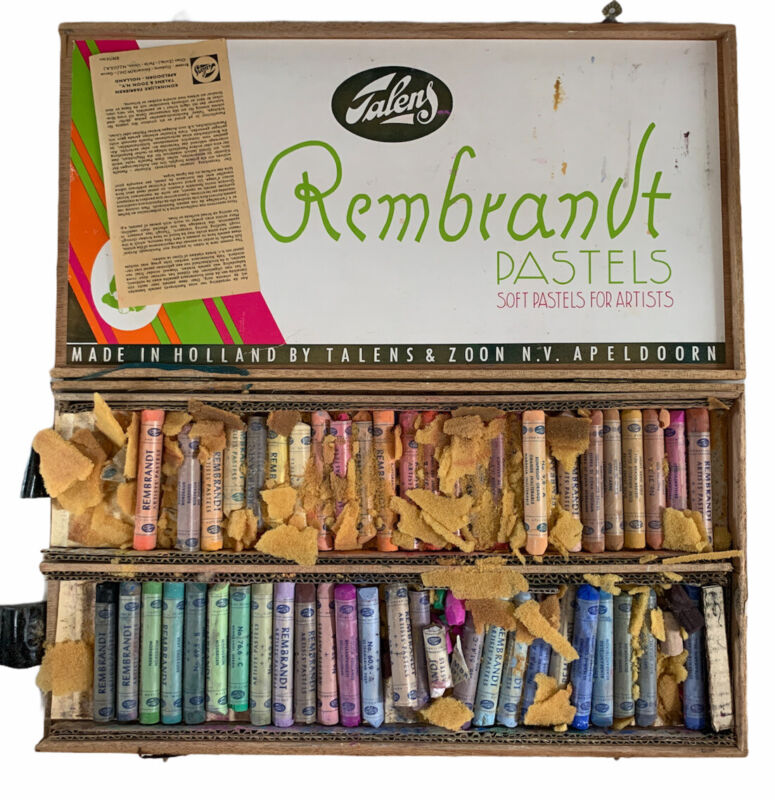 Vintage Rembrandt by Talens Soft Artist Pastels Set of 50 in Original Wood Box