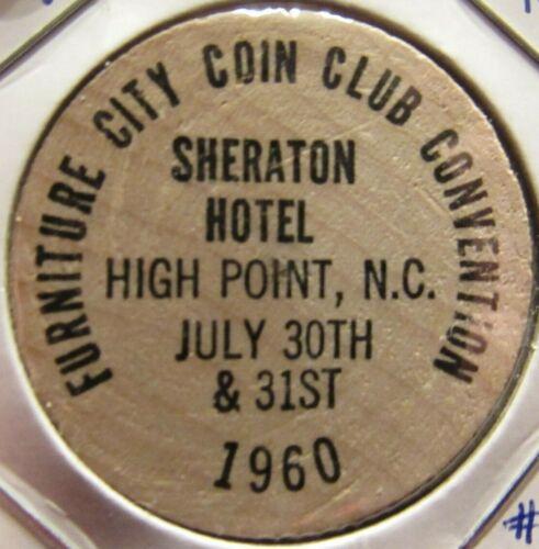 1960 Furniture City Coin Club High Point, NC Wooden Nickel - North Carolina #2