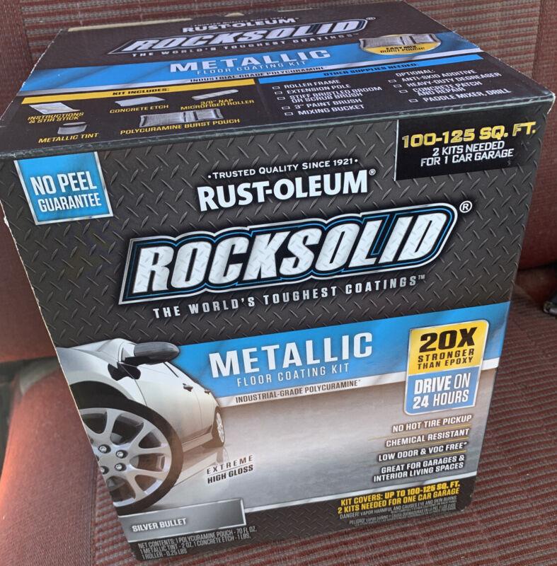 NEW RustOleum 70oz Rock Solid Silver Metallic Garage Floor Coating Kit