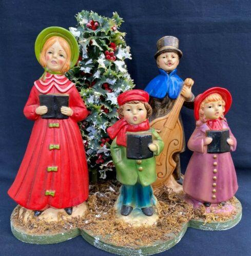 Vintage Christmas Carolers R B Japan Family of 4 Mounted Figurines w/Christmas T