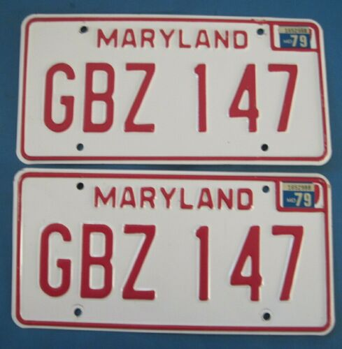 1979 Maryland License Plates Matched Pair excellent