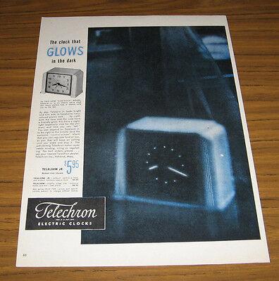 1947 Vintage Ad Telechron Electric Clocks Glows in the Dark Ashland,MA