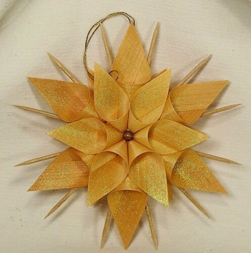 """7"""" Shaved/Curled/Carved Stick Starflower Wood Shaving Christmas Ornament Germany"""