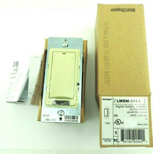 WATT STOPPER LMSW-101-I Digital Wall Switch, 1-Button, Ivory RJ-45 Connectivity