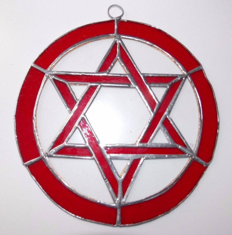 Leaded Stained Glass Round Sun Catcher Red Star of David  Hanging 7