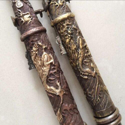 2PCS antique Chinese ancient weapon carved dragon gold chainAttacker