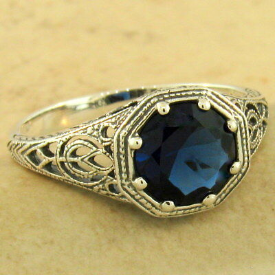 ART DECO SOLITAIRE 925 STERLING SILVER ROYAL BLUE SIM SAPPHIRE RING Sz 9,  #1158 925 Sterling Silver Solitaire