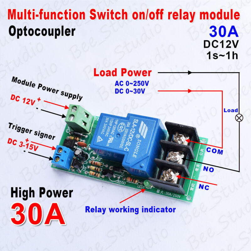 DC12V Multifunction Delay Timing on//off Optocouple Relay Module 30A Switch Timer
