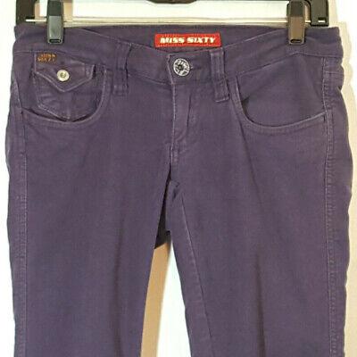 Miss Sixty Purple Stretch Skinny Jeans Jeggings Low Waist Tag Sz 26 Brush Denim Brush-denim