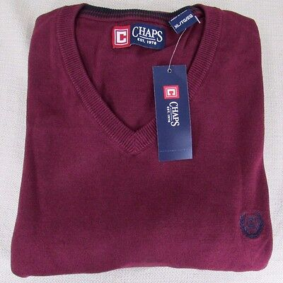 CHAPS by RALPH LAUREN Men's Classic Fit Solid V-Neck Sweater Burgundy XL NEW