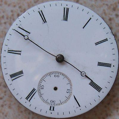 Fine Old Pocket watch movement & dial Key wind 38,5 mm. balance Ok.