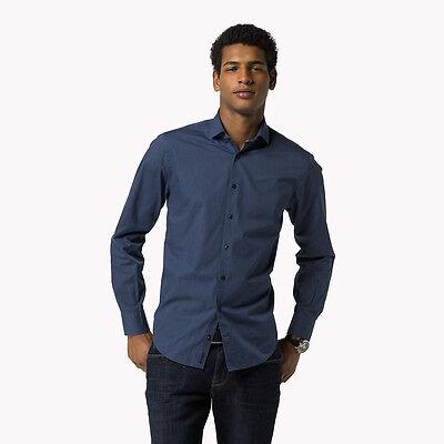 Mens Tommy Hilfiger Cotton Regular Fit Shirt Blue Medium box56 45 A