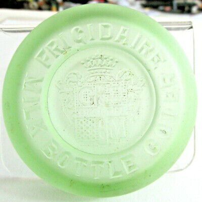 Vintage FRIGIDAIRE GREEN GLASS MILK BOTTLE COVER, Frosted Green glass Kitchen