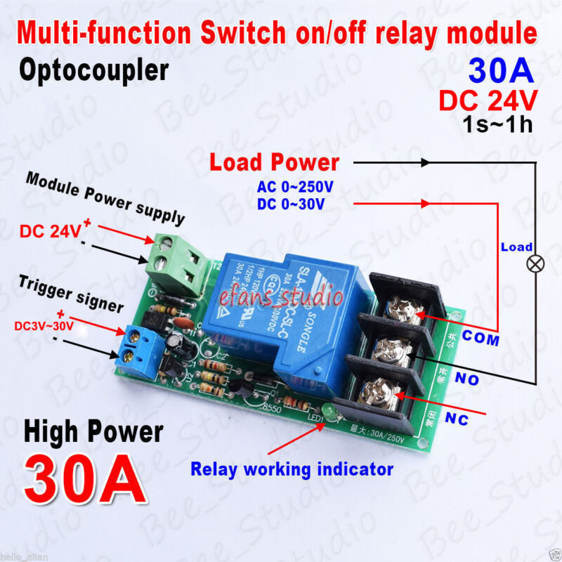 Details about DC 24V 30A Multifunction Delay Timer Switch Turn on/off Relay  Module High Power