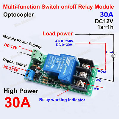 Dc 12v 30a Trigger Signal Delay Timer Time Relay Switch Turn Onoff Module 1s1h