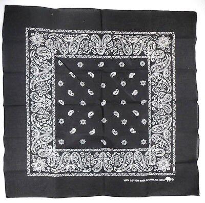 "Elephant Logo Bandana 21.5"" X 22"" Black w/ white Floral Paisley"