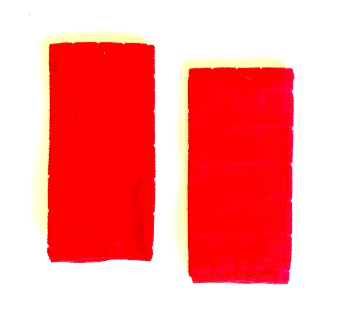 Kitchen Dish Hand Towels Solid Red Color Set of 2 15 x 25 in