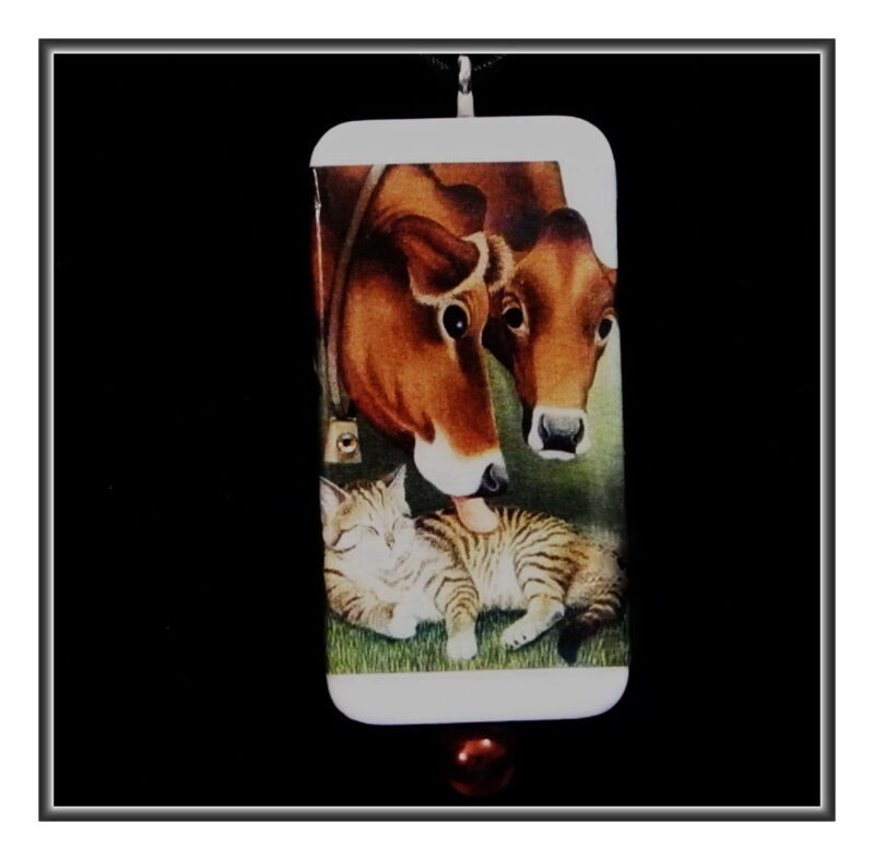 COWS AND TABBY - HAPPINESS ON THE FARM DOMINO PENDANT