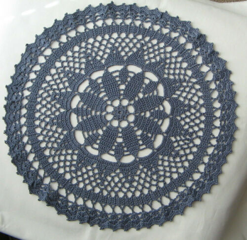 """New Hand Crocheted Doily Gray Blue 12"""" Round Handmade in US irresistible"""