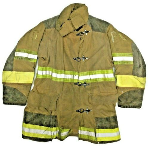44x32 Globe Firefighter Brown Turnout Jacket Coat with Yellow Tape J896
