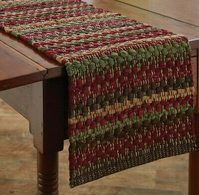 """CHINDI Table Runner Cranberry Tan Green 13"""" x 36"""" Farmhouse High Rock Collection"""