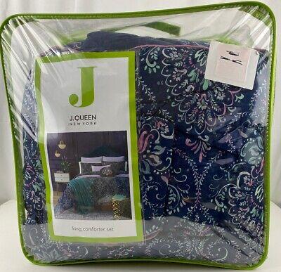J. Queen New York Kayani Reversible King 3 Piece Comforter Set in Indigo