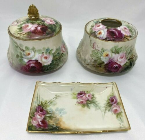 3 pc Porcelain Vienna Austria Vanity Set Hand Painted Rose Gold Gilded Accent