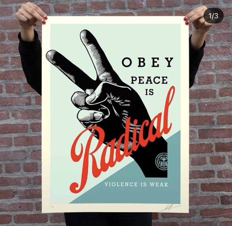 Obey Radical Peace by Shepard Fairey Blue Print Confirmed Order Free Shipping