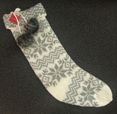 SNOWFLAKE FAIR ISLE Knit Christmas Stocking WHITE & GRAY 19