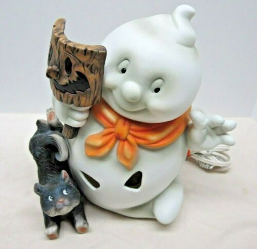 Happy Halloween Ghost with Mask & Black Cat Light up Decoration