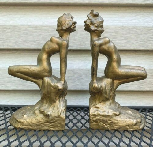 ANTIQUE RARE ARMOR BRONZE NUDE WOMAN LADY ART DECO STATUE BOOK BOOKENDS