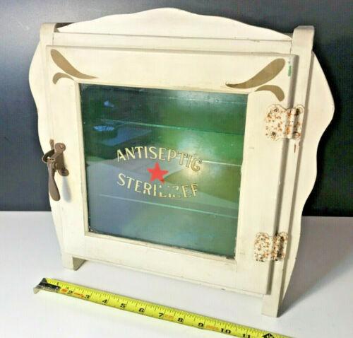 Vintage Wood Antiseptic Sterilizer Cabinet Medical Barber w/ 2 Glass Shelves