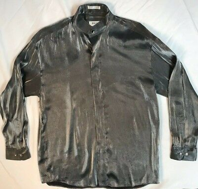 Shimmery Silver Men's Party Disco Long Sleeve Shirt Pavo by Lastrada M 15-15.5 - Silver Disco Shirt
