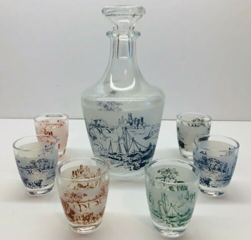 Vintage 7 Piece Decanter & Shot Glass Set Countryside Scenes-Made In France