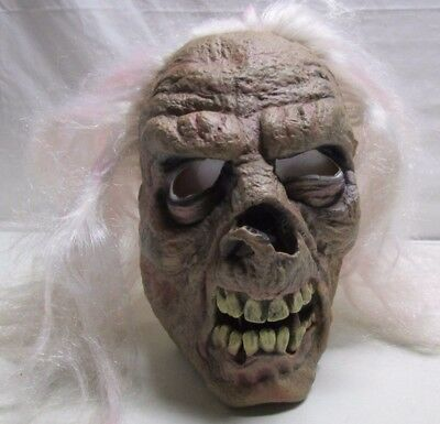 Halloween Mask Skeleton Old Guy Long Hair 2004 Paper Magic Group Scary Costume