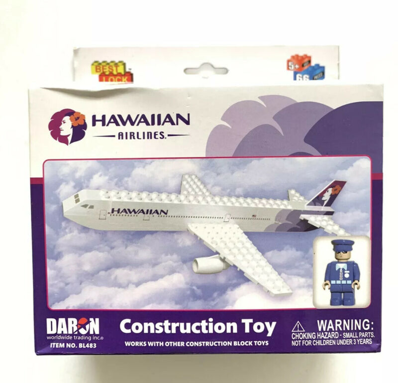 Hawaiian Airlines LEGO Building Blocks Construction Toy Plane With Pilot